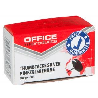 Pinezki klasyczne OFFICE PRODUCTS, 100szt., srebrne, Pinezki, Drobne akcesoria biurowe