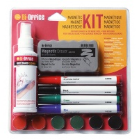 Magnetic Dryboard Writing Set BI-OFFICE, spray, sponge, 4 markers and magnets