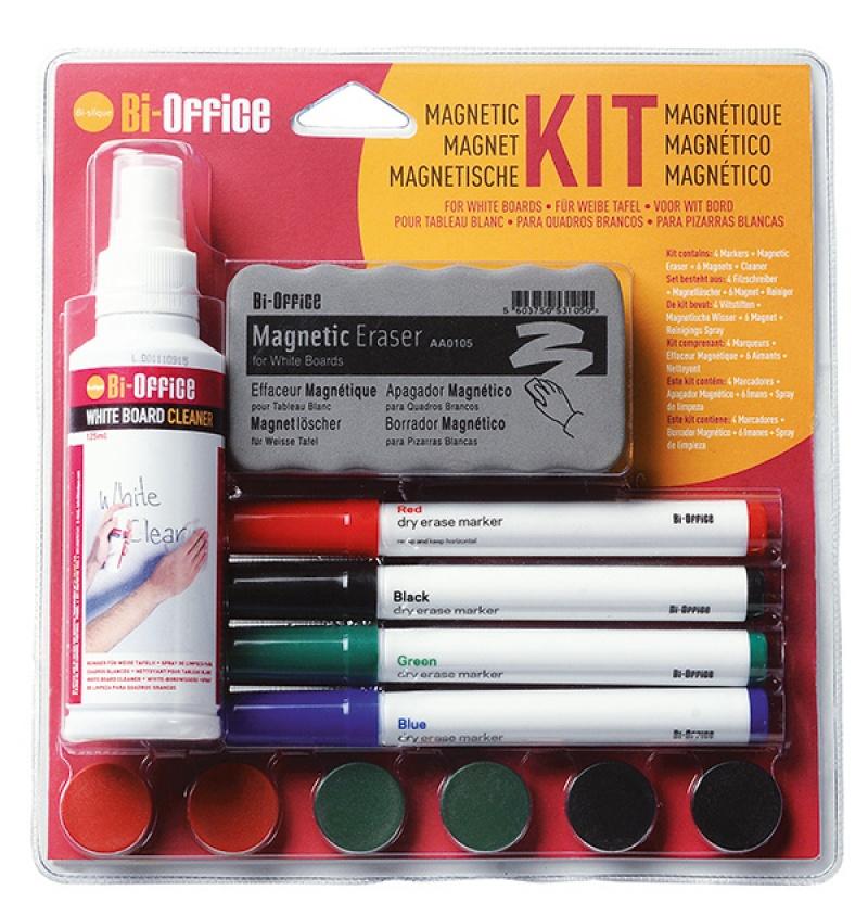 Zestaw do tablic magnetyczny BI-OFFICE, spray, gąbka, 4 markery oraz magnesy, Bloki, magnesy, gąbki, spraye do tablic, Prezentacja