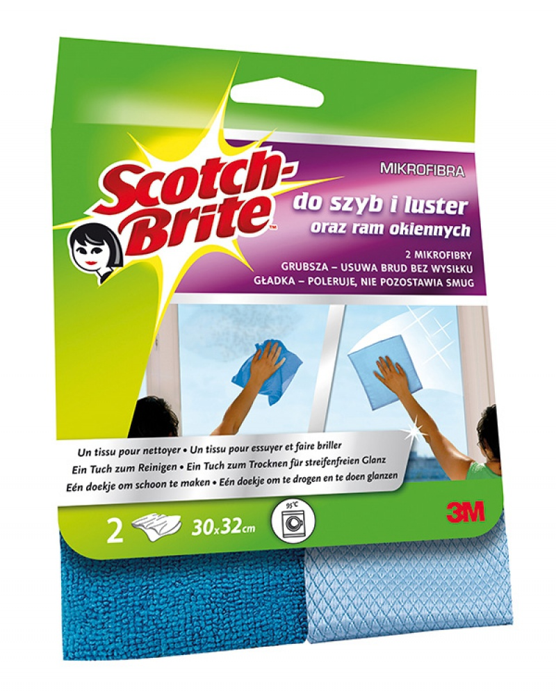 Ścierka z mikrofibry SCOTCH BRITE™ do szyb i luster, 2szt., ciemno/jasnoniebieskie, Akcesoria do sprzątania, Artykuły higieniczne i dozowniki