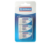 Universal Pencil Eraser DONAU, 41x21x11mm, blister pack - 3 pcs, white