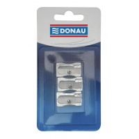 Pencil Sharpener DONAU, aluminium, single hole, blister, 3pcs