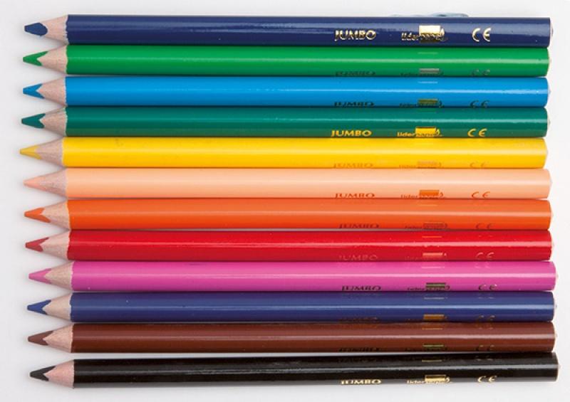 Kredki ołówkowe LIDERPAPEL Jumbo, 12szt., mix kolorów, Plastyka, Szkoła 2015