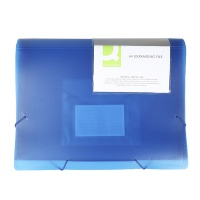 Expanding File Folder with elastic band closure Q-CONNECT, PP, A4, 6 compartments, transparent blue