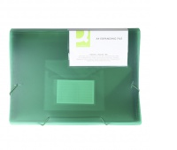 Expanding File Folder with elastic band closure Q-CONNECT, PP, A4, 6 compartments, transparent green
