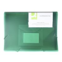 Teczka harm. z gumką Q-CONNECT, PP, A4, 6-przegr., transparentna zielona, Teczki przestrzenne, Archiwizacja dokumentów