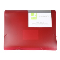 Expanding File Folder with elastic band closure Q-CONNECT, PP, A4, 6 compartments, transparent red