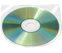 Self-adhesive Pocket CD/DVD Q-CONNECT, semi-round, 126x126mm, 10pcs, clear