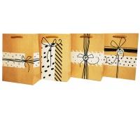 Torebka Lux z brok.ŚREDNIA prezent natural, Torby ozdobne, Papier i etykiety