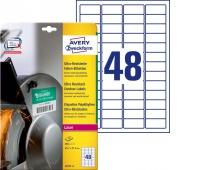 Etykiety polietylenowe ultra resistant Avery Zweckform, A4, 10 ark./op., 45,7 x 21,2mm, białe, Etykiety samoprzylepne, Papier i etykiety