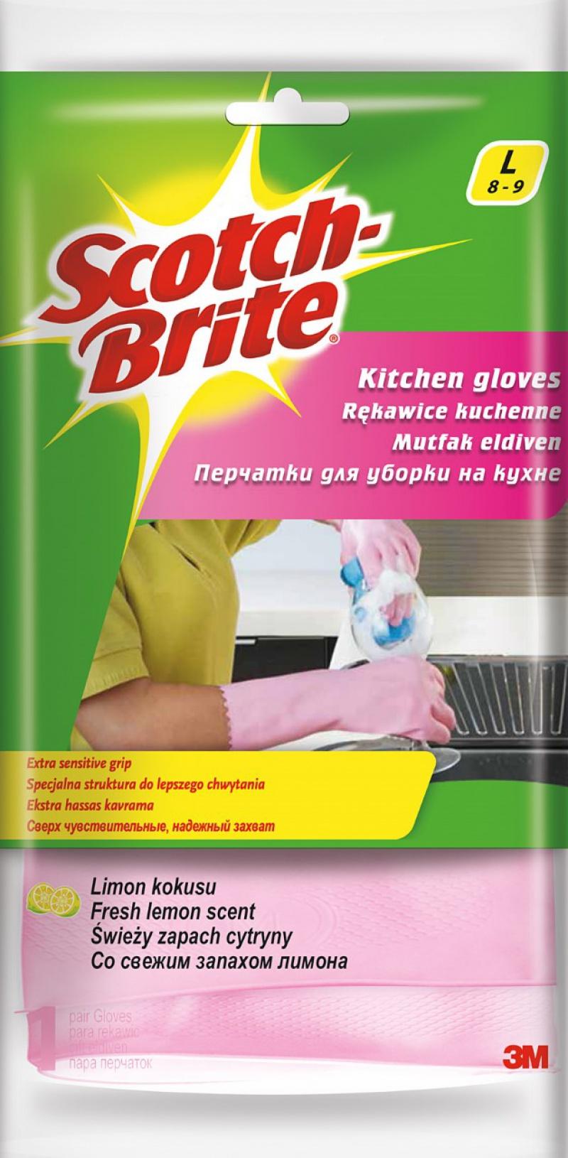 Rękawice SCOTCH BRITE™ Kuchenne, rozm. L, różowe, Rękawice, Ochrona indywidualna