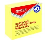 Mini kostka samoprzylepna OFFICE PRODUCTS, 50x50mm, 1x400 kart., pastel, jasnożółta, Bloczki samoprzylepne, Papier i etykiety