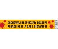 Naklejka wielokrotnego użytku OFFICE PRODUCTS, zachowaj bezpieczną odległość, 8x45cm, żółta, Tabliczki i naklejki, Ochrona indywidualna