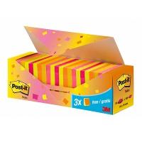 Bloczek samoprzylepny POST-IT® (654-NP24), 76x76mm, 21+3x100 kart., mix kolorów, 3 bloczki GRATIS