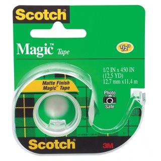 Taśma biurowa SCOTCH® Magic™ (104), matowa, z dyspenserem, 13mm, 11, 4m, Taśmy biurowe, Drobne akcesoria biurowe