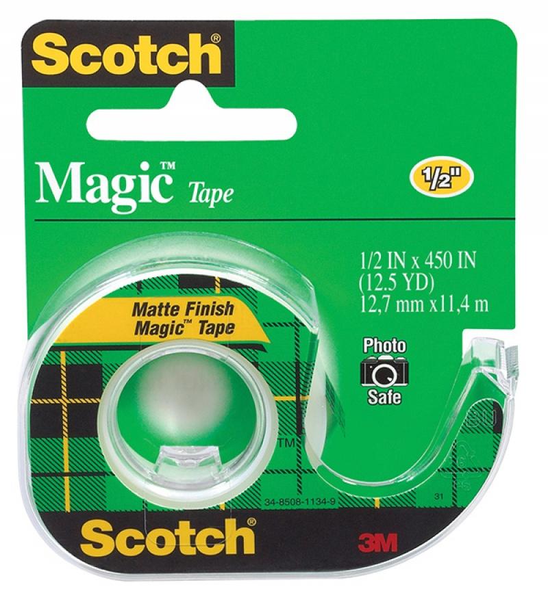 Taśma biurowa SCOTCH® Magic™ (104) matowa z dyspenserem 13mm 11 4m, Taśmy biurowe, Drobne akcesoria biurowe
