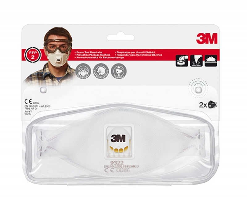 Półmaska ochronna z zaworkiem 3M Cool Flow FFP2 (9322+), przeciw pyłom i mgłom, Maski, Ochrona indywidualna