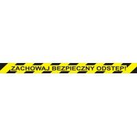 Naklejka podłogowa OFFICE PRODUCTS, zachowaj bezpieczny odstęp, 103x10cm, żółta, Tabliczki i naklejki, Ochrona indywidualna