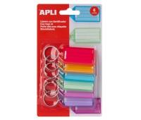 Zawieszki na klucze APLI, 29x56mm, 6szt., blister, mix kolorów, Szafki na klucze, Wyposażenie biura