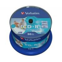 Verbatim CD-R 52x 700MB 50p cake box DataLife+,AZO, Inkjet, Wide printable, Płyty CD/DVD i dyskietki, Akcesoria komputerowe