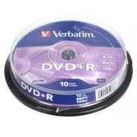 Verbatim DVD+R 16x 4,7GB 10p cake box DataLife+,Adv.AZO+, bez nadruku, Płyty CD/DVD i dyskietki, Akcesoria komputerowe