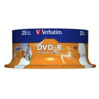 Verbatim DVD-R 16x 4,7GB 25p cake box DataLife+AZO+, nadruk,, Płyty CD/DVD i dyskietki, Akcesoria komputerowe