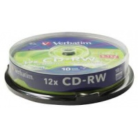 Verbatim CD-RW 12x 700MB 10p cake box DataLife+,scratch resist, bez nadruku, Płyty CD/DVD i dyskietki, Akcesoria komputerowe