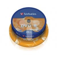 Verbatim DVD-R 16x 4,7GB 25p cake box DataLife+,Adv.AZO+,scratch res, bez nadr, Płyty CD/DVD i dyskietki, Akcesoria komputerowe