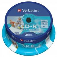 Verbatim CD-R 52x 700MB 25p cake box DataLife+,Super AZO, do nadruku, Płyty CD/DVD i dyskietki, Akcesoria komputerowe