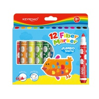 Flamastry KEYROAD Jumbo Starter, 12szt., zmywalne, zawieszka, mix kolorów, Plastyka, Artykuły szkolne