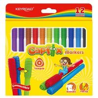 Flamastry KEYROAD Capfix Markers, 12szt., trójkątne, zmywalne, łączone, zawieszka, mix kolorów, Plastyka, Artykuły szkolne
