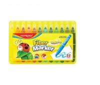Flamastry KEYROAD Jumbo Smoozy Art., 12szt., zmywalne, pudełko, mix kolorów, Plastyka, Artykuły szkolne