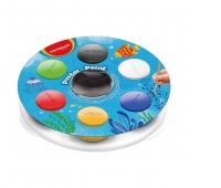 Farby plakatowe KEYROAD, 6x25ml, z kubeczkiem na wodę, podstawką i pędzlem, mix kolorów, Plastyka, Artykuły szkolne