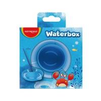 Kubeczek na wodę do malowania KEYROAD, ze spodkiem, pudełko, niebieski, Plastyka, Artykuły szkolne