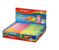 Gumka uniwersalna KEYROAD, neon, pakowane, na displayu, mix kolorów, Plastyka, Artykuły szkolne
