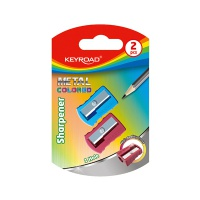 Temperówka KEYROAD, aluminiowa, pojedyncza, 2szt., blister, mix kolorów, Temperówki, Artykuły do pisania i korygowania