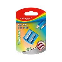 Temperówka KEYROAD, aluminiowa, podwójna, blister, mix kolorów, Temperówki, Artykuły do pisania i korygowania