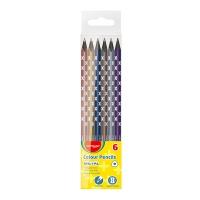 Kredki ołówkowe KEYROAD, trójkątne, czarne drewno, metalic, 6szt., zawieszka, mix kolorów, Plastyka, Artykuły szkolne