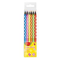 Kredki ołówkowe KEYROAD, trójkątne, czarne drewno, neon, 6szt., zawieszka, mix kolorów, Plastyka, Artykuły szkolne