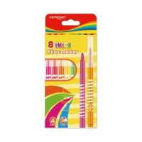 Flamastry KEYROAD Fiber Marker, neon, 8szt., zawieszka, mix kolorów, Plastyka, Artykuły szkolne