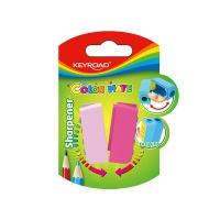 Temperówka KEYROAD Color Mate, plastikowa, podwójna, blister, mix kolorów, Temperówki, Artykuły do pisania i korygowania