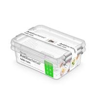 Zestaw pojemników antybakteryjnych ORPLAST Antibacterial, 2x1,15l, transparentny, Pudła, Wyposażenie biura