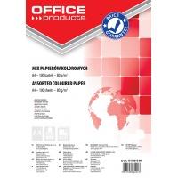 Papier kolorowy OFFICE PRODUCTS, A4, 100 arkuszy, 80gsm, mix kolorów, Papiery specjalne, Papier i etykiety