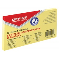 Bloczek samoprzylepny OFFICE PRODUCTS, 127x76mm, 1x100 kart., pastel, jaznożółty, Bloczki samoprzylepne, Papier i etykiety