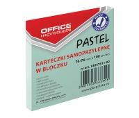 Bloczek samoprzylepny OFFICE PRODUCTS, 76x76mm, 1x100 kart., pastel, zielony
