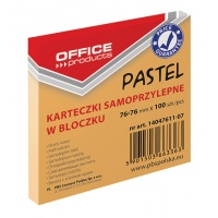 Bloczek samoprzylepny OFFICE PRODUCTS, 76x76mm, 1x100 kart., pastel, pomarańczowy