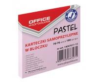 Bloczek samoprzylepny OFFICE PRODUCTS, 76x76mm, 1x100 kart., pastel, różowy