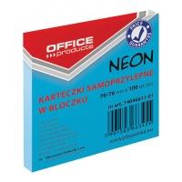 Bloczek samoprzylepny OFFICE PRODUCTS, 76x76mm, 1x100 kart., neon, niebieski