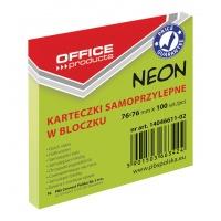 Bloczek samoprzylepny OFFICE PRODUCTS, 76x76mm, 1x100 kart., neon, zielony