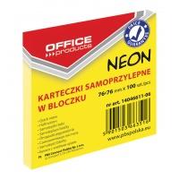 Bloczek samoprzylepny OFFICE PRODUCTS, 76x76mm, 1x100 kart., neon, żółty